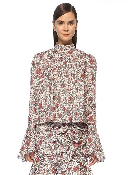 Caroline Constas Çiçek Desenli Pileli Bluz Renkli